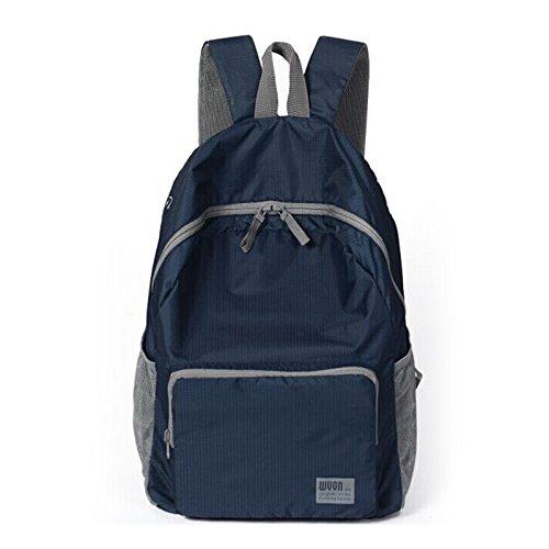 Dlflyb Klappbare Rucksack Superleicht Wasserfest Double Shoulder Bag Skin Pack Schulter Licht Outdoor Bergsteigen Tasche Reisetasche Navy Blue
