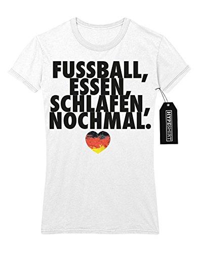 Lady T-Shirt FUSSBALL ESSEN SCHLAFEN NOCHMAL M863727 Weiß