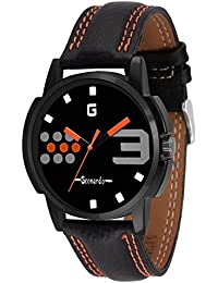 Geonardo's Ultimate Desire Black Dial Leather Strap Watch For Men And Boys-GDM007