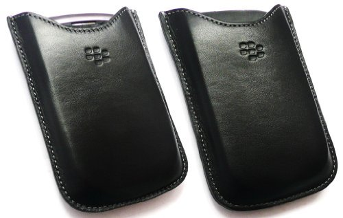 FLASH SUPERSTORE GENUINE BLACKBERRY PREMIUM PURE LEATHER POCKET CASE POUCH BULK PACK SUITABLE FOR BLACKBERRY 8520 CURVE / 9300 CURVE 3G + FLASH SUPERSTORE SCREEN PROTECTOR - Blackberry Pocket Case
