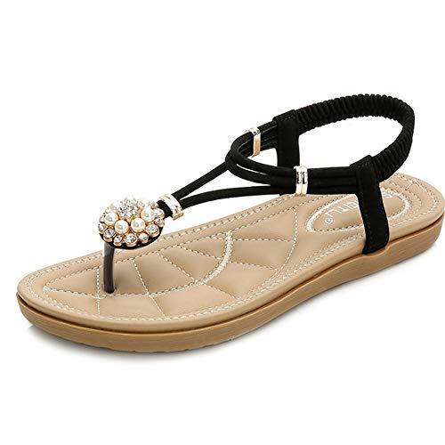 Sandali da donna con cinturino a t in pelle con cinturini a forma di ciabatta da spiaggia con strass in boemia (colore : nero, dimensione : 41 1/3 eu)