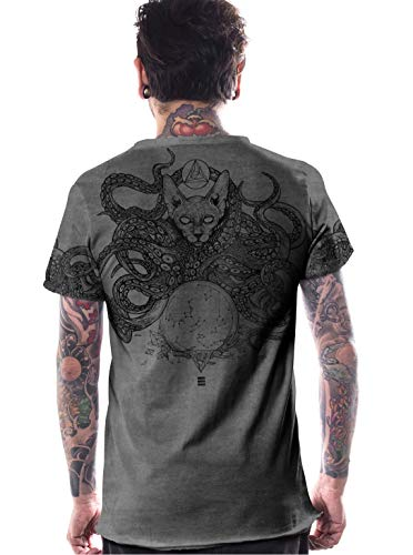 Herren T-Shirt mit Zulu Psychadelischem Octopos Street Fashion Muster - Oliv-Grün - Medium - handgefertigt durch Siebdruck