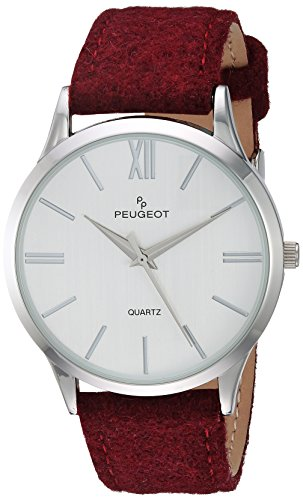 Peugeot Unisex-Adult Analog-Quartz Watch with geninue-Leather Strap 2058WN