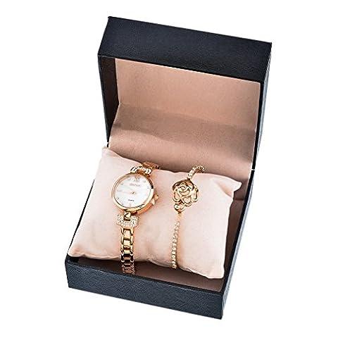 Souarts Ensemble Coffret Cadeau 1 Montre 1 Bracelet Bangle Strass Motif Fleur pour Femme avec Boîte