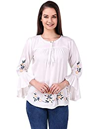 Elyraa Women's Embroidered Rayon Cotton Top for Dailywear Stylish Casual and Western Wear Women/Girls Tops White
