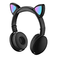 RuleaxAsi LED Cat Ear Headphones RGB Color Bluetooth 5.0 Headsets Noise Cancelling Foldable Adults Kids Earphone with Mic