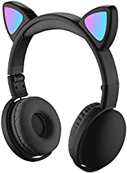 LED Cat Ear Headphones RGB Color Bluetooth 5.0 Headsets Noise Cancelling Foldable Adults Kids Earphone with Mi