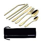 riutilizzabili include coltello cannucce oro-8 pezzi cucchiaio in acciaio inox bacchette spazzola Set di posate portatili da campeggio custodia portatile forchetta
