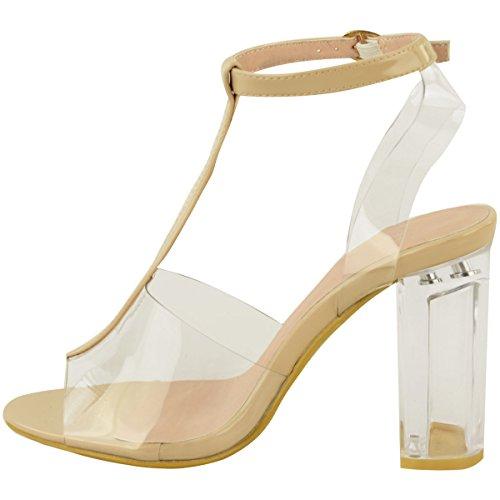 Donna Tacchi Alti Perspex A blocco Trasparente Sandali celebrità Alla caviglia Con bretelline misura UK Color Carne Vernice