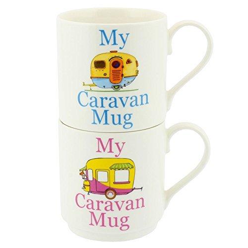Set 2 Stacking Mugs - My Caravan Mug (Blue and Pink) by The Leonardo Collection