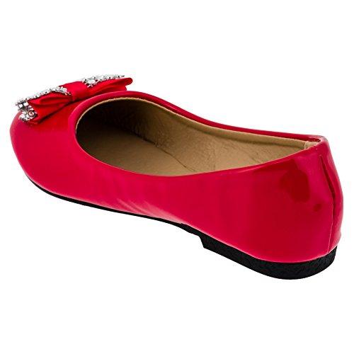 Festlicher Mädchenschuh Ballerina mit Glitzerschleife in 3 Farben #92pi Pink