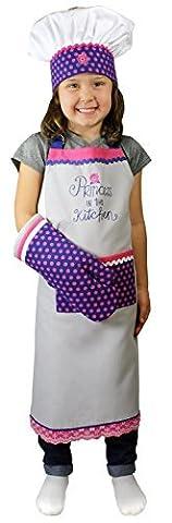 MU Kitchen MUkitchen MiniMU Kids 3-Piece Cotton Chef Set with Apron, Hat and Mitt, Princess in Kitchen by MUkitchen
