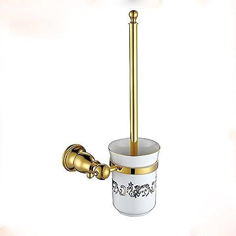 SAEJJ-Brass Plating Golden Toilet Brush Rack Hardware Hanger Bathroom Toilet Brush Set