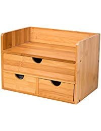 BBYE Bambú de escritorio caja de almacenamiento de escombros cosmética Home Box Office Acabado cajas de cajón