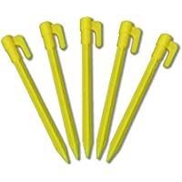 KINGLAKE 30 Pcs 5.7 Inch ABS Plastic Tent Pegs Yellow Garden Ground Pegs Awning Camping Pegs for Fixing Net Landscape Fabric Rain Tarps