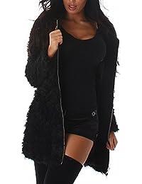 JELA London Damen Jacke, Mantel mit weichen, langen Fasern, innen gefüttert mit Reißverschluss, 34-38