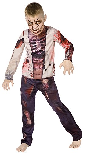 Zombie-Jungen-3D - Halloween-Kostüm - Kinder Kostüm - Medium - 128cm - Alter 6-8