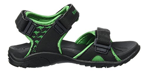 KangaROOS Inclas, Sandales  Bout ouvert mixte enfant Noir (Black/Simply Green)