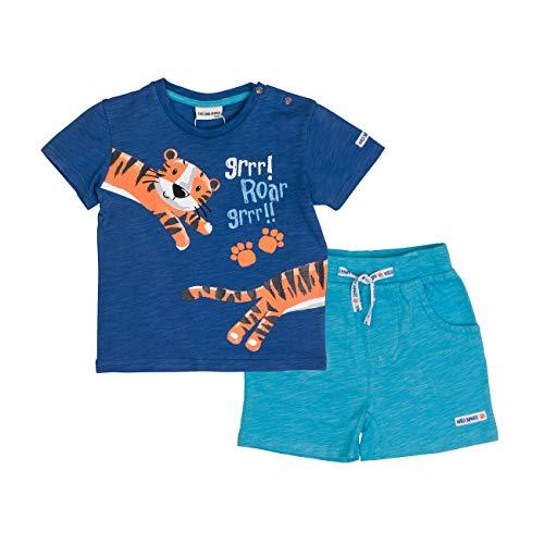 SALT AND PEPPER Baby-Jungen Bekleidungsset Set Jungle Uni Puffprint Blau (Ink Scuba Blue 471-457) 80 -