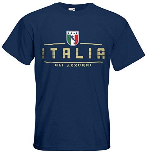 AkyTEX Italien Italia EM 2016 Fanshirt T-Shirt Trikot (Navyblau, S)