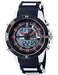 Konigswerk AQ202901G Reloj para hombre, alarma, esfera LCD, Dual Time, cronógrafo negro y rojo, diseño militar deportivo