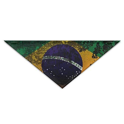 Hectwya Haustier-Bandanas Retro Brasilien-Flaggen-Wand-Hundebandanas-Schals-Dreieck-Lätzchen-Schals Bejeweled Damen