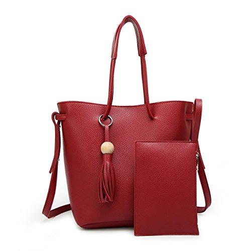 Damen-Mode Einfache Freizeit-Gürtel-Troddel-Retro- Schulter-schräge Querhandtasche,Red-AllCode
