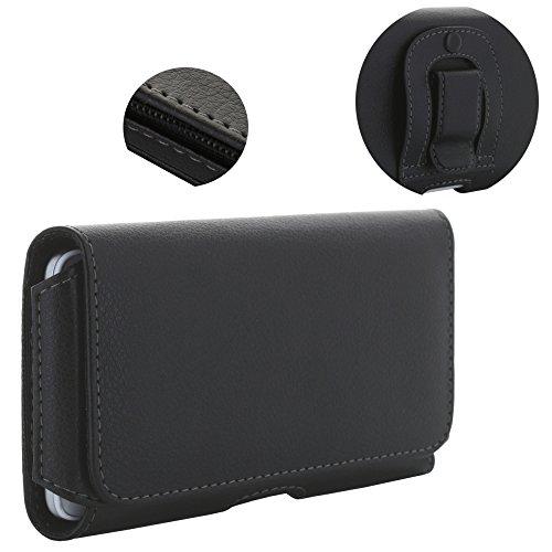 Handy Gürteltasche 1.4 3XL Tasche mit Stahlclip bis 14,75x7,4 cm passend für Samsung Galaxy A5 J5 2017 S10e Xcover 4 4s - Handytasche schwarz (4s Handy Galaxy)