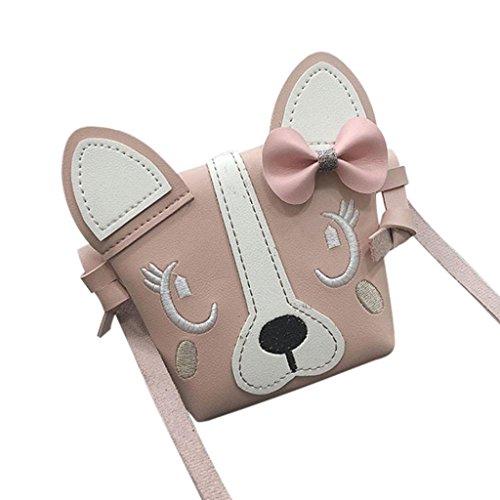 Rovinci Kinder Mädchen Schultertasche Jungen Süß Klein Nette Hund Drucken mit Bowknot Leder(PU) Handtasche Mini Umhängetasche Hasp Schulterbeutel Cross-Body Taschen mit Magnetverschluss (Rosa)