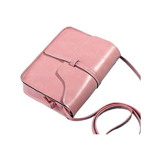 LoveLeiter Mode UmhäNgetasche Taschen Damen Schultertasche Leder Handtasche Klein Damen handtasche Metallgriff Henkeltasche Abendhandtasche Ledertasche Vintage UmhäNgetaschen (Rosa,Freie Größe) -