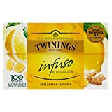 Twinings Infusi - Zenzero e Limone - Infuso 100% Naturale formato dalla Briosità del Limone e dalle Note Speziate dello Zenzero - Proprietà Benefiche, Gusto Frizzante e Avvolgente (40 Bustine)