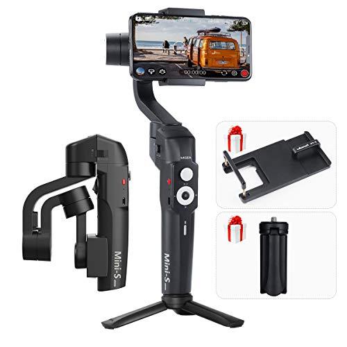 MOZA Mini-S Faltbarer Gimbal 3-Achsen-Smartphone-Gimbal mit ULANZI PT-6-Adapterplatte für Gopro, schnelles Platback, One-Button-Zoon, Timelapse, Objecti-Tracking, Inception-Modus für Gopro iPhone Sams Igo Smartphone