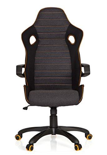 41tBNFYsEBL - hjh OFFICE 621850 RACER PRO IV - Silla gaming y oficina, tejido negro/gris/naranja