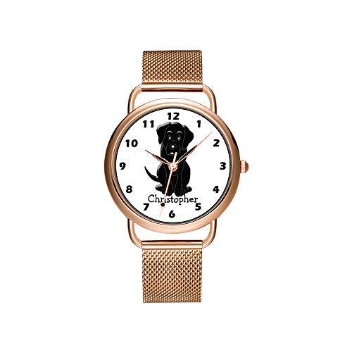 Frauen Uhren Marke Damen Mesh Gürtel ultradünne Uhr wasserdichte Uhr Quarzuhr Weihnachten Black Kitty Cat und Meow Paw Print Uhren