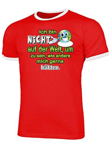 Golebros Ich Bin Nicht auf der Welt, Um zu Sein 4437 Herren Ringer T-Shirt (HR=Rot/Weiss) Gr. XXL