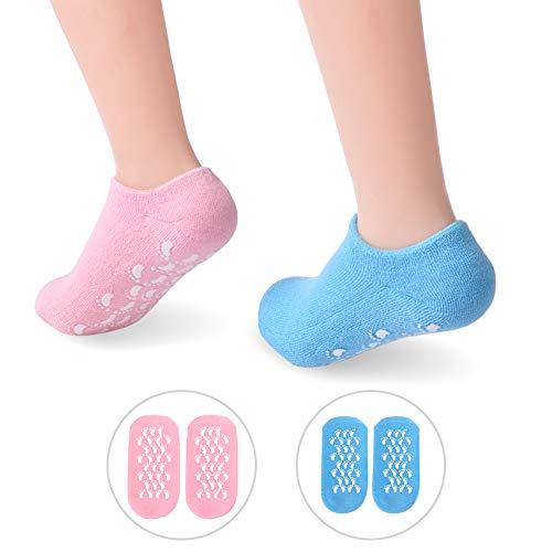 Feuchtigkeitsspendende Gel Socken, PRETTY SEE Feuchtigkeitssocken Soften Feet Skin mit ätherisches Öl Behandlung trockenen Haut für Füße Peeling, 2 Packungen Moisturizing Socks Damen, Rosa & Blau