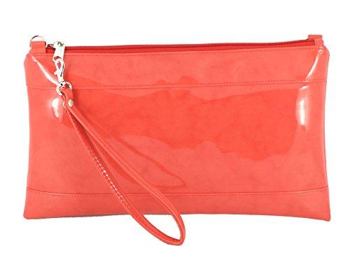 Kunst Lackleder Clutch/Schultertasche/Crossbody/Wristlet Hochzeit Tasche Größe Groß in weiß korallen orange