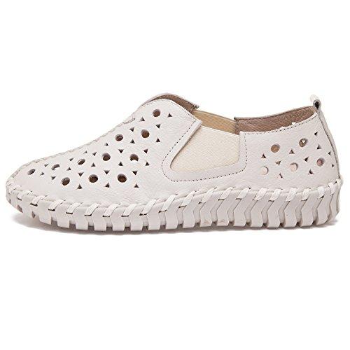 Shenn Femmes Glisser sur plat Décontractée Cuir Joli Baskets Chaussures Blanc