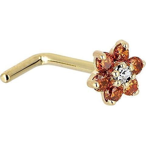 Sólido 14KT amarillo naranja y diseño de flores y circonitas cúbicas L-forma de nariz anillo de gran calibre 18-