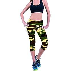 Pantalones mujer deporte Sannysis YOGA Pantalones, Legging Mallas para mujer (Verde, L)