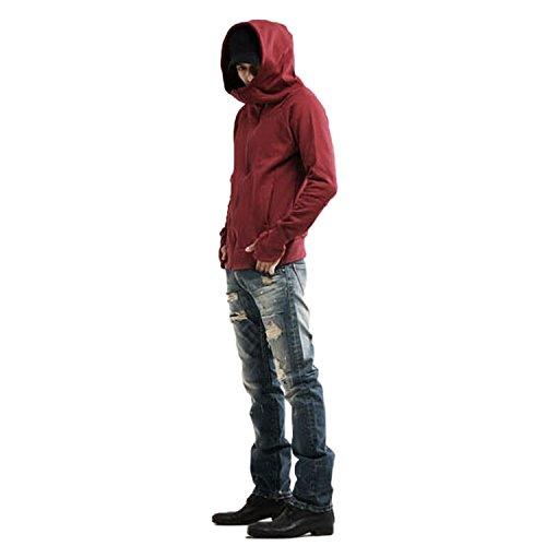 Nonbrand da uomo invernale con cappuccio Uomo Giacca Zip a maniche lunghe con cappuccio Unisex maglione taglia XS-L Red