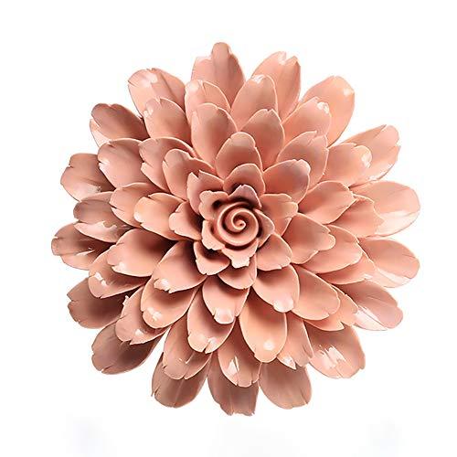 ALYCASO Handgefertigte 3D Keramik Pfingstrose Wand Pediments Skulptur Dekoration Porzellan Blume für Wohnzimmer, Schlafzimmer, Küche 5.91 in Orange -