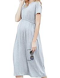 775cc3ae189f Zengbang Manica Corta Vestito da Maternità Donna Casual Gravidanza Midi  Abito a Vita Elastica