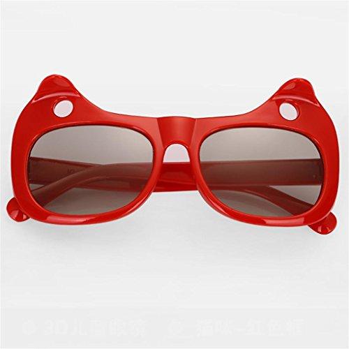 XF Sonnenbrillen Sonnenbrillen - polarisiert, Kinder, kein Blitz, Stereo 3D, Filme, 3D-TV Universal, 5-10 Jahre alt, Größe: 125x55mm Brillen & Zubehör (Farbe : Rot)