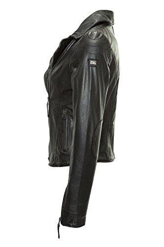 Freaky Nation Damen Lederjacke Biker-Look Vintage (L, Black) - 2