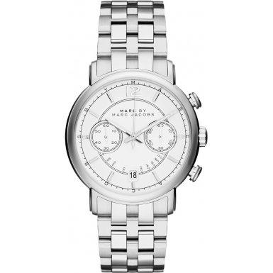 Marc Jacobs Men's Steel Bracelet & Case Quartz White Dial Chronograph Watch MBM5063