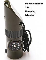 multifonctionnel 7en 1Sifflet de camping/randonnée avec boussole lampe de poche LED Loupe Thermomètre pour survie d'urgence Voyage randonnée Hunting-army Vert