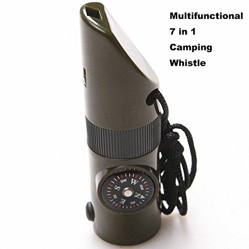 multifonctionnel 7 en 1 Sifflet de camping/randonnée avec boussole lampe de poche LED Loupe Thermomètre pour survie d'urgence Voyage randonnée Hunting-army Vert