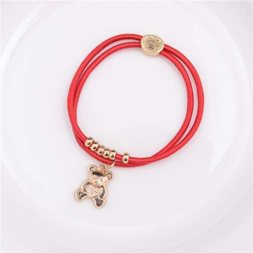 WODESHENGRI Armbänder,Bär Anhänger Haar Seil Punk Link Bear Armband Für Männer Und Frauen Trendigen (Roter Link Kostüm)