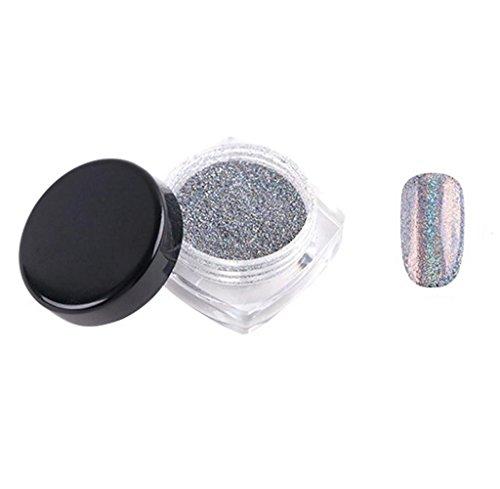 Tongshi 2g / caja arco iris holográfico de uñas en polvo láser de cromo uñas brillo (Plata)